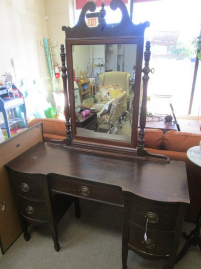 Stained Wood Veneer Vanity w/ Mirror, Column, Design, Oval Brass Pulls, Scroll Top