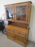Oak Veneer China Hutch Cabinet w/ 2 Glass Hutch Doors, 2 Drawers, 2 Hutch Doors