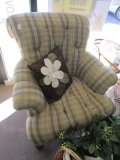 Turquoise/Brown/Green Upholstered Button back Scroll Arm Chair. French Bun Feet Wood