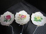 Set - 3 Nasco Leaf Design Saucers w/ Gilded Edge, Floral Motif, Made in Japan