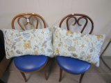 Pair - Wood Chair Carved Design Back w/ Blue Cushion Seat