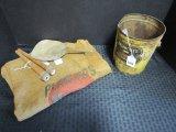 Lot - Balentines Lard Bucket, Planters Peanuts Burlap Sack, Wood Hand Trowel, Etc.