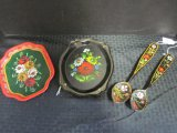 Lot - Colorful Gypsy-Style Patterned Floral Spoons, Metal Trays