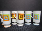 6 Art Deco Cups w/ Square Pattern