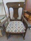 Vintage Wooded Floral Upholstered Rocker