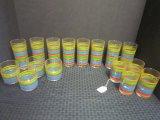 Hot Kitchen 16 Piece Glass Set, Colorful Striped Pattern