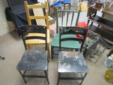 Lot - Wood Chair Slat Back, 1 Green Slat Back Chair, Pair Metal Chairs