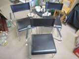 3 Wire Frame Metal Chairs Chrome w/ Black Leather