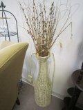 Large Wicker Vase-Design w/ Faux Flowers, Beige