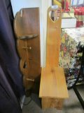 Lot - Child's Wooden Stool/Chair w/ Carved Heart & Wood Coat Rack/Shelf