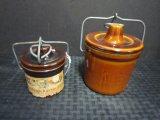 Lot - Sourdough Starter Mix Jar w/ Metal Clasp Lid & Glazed Stoneware Jar w/ Metal Lid