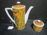 Teapot & Sugar Ceramic Porcelain by Royal Crown, Ocho Rios 3849 Brown Floral Pattern