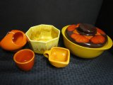 Lot - Large Ceramic Bowl w/ Brown Leaf Top Stoneware Octagonal Bowl
