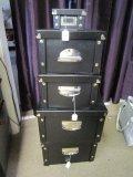 5 Black/Metal Storage Boxes