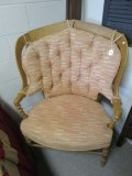 Solid Wood Chair by Bernhardt Flair Division w/ Pink/White w/ Button Back Cushions
