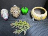 Misc. Lot - Green Glass Apple, Plastic Pinecone, Paper Mache Pig, Oak Leaf Wall Art Metal