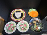Lot - 5 Plates, 2 Plates San Marco w/ Apples w/ Lattice Design, 1 Orange Plate