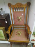 Antique Vintage Rocker Solid Wood w/ Pink Floral Upholstery, Brass Finials