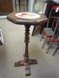 Wood Child's Pedestal Side Table w/ Floral Ceramic Center