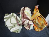 Lot - 3 Canvas Bags/Totes, Stitched Burlap Floral/Colorful Fabric, Green/Cream