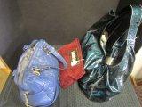 Lot - Blue/Studded Bag, Felt Inline, Blue/Green Texture Tote Bag