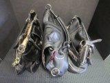 Lot - Tignanello Leather Bag Metal Clasps, Dana Buckman Leather Bag w/ Zebra Print Inside