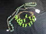 Green Costume Jewelry Lot - Green Bauble Necklaces, 1 w/ Metal Chain