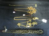 Gold Costume Jewelry Lot - Puzzle Piece, Coat of Arms, Leaf, Berry Necklaces