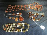 Amber Costume Jewelry Lot - 3 Necklaces, 1 w/ Plastic Amber, 2 Baubles