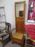 Wood Hall Tree w/ Mirror & Storage Seat/Chest/Brass Coat Hangers