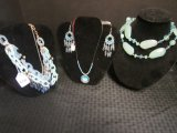 Blue Costume Jewelry Lot - Chain Link Necklace, Blue Plastic Stones, Etc.