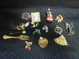 Pins Lot - Christmas Bear Pin, Shell, Mirrored, Fork, Etc.