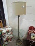 Standing Lamp w/ Brass Column Motif/Finials, Shade w/ Glass Round Shelf