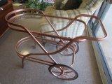 Bronzed/Brushed Metal Frame Tea Cart w/ Glass Shelves, 2 Tier on Wheels