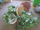 Lot - 5 Wicker Baskets w/ Faux Flowers & 1 Wooden Planter