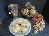 Lot - Table Décor, Glass Pedestal Bowl w/ Floral Motif Balls