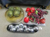 Table Décor Lot - Tin Basket w/ Silver Baubles, Silver Charges, Fake Apples/Grapes