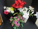 Lot - Faux Flowers w/ Various Planters