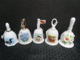 Lot - Ceramic Bells, Virginia, Canada, Maryland, Spring Bell, Blue Floral Bell