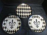3 Ceramic Plates Black/Yellow w/ Fleur de Lis Motif/Pattern