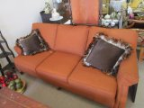 Burnt Orange 3 Seat Couch by Wesle, Hall Inc. Upholstered, Stained Wood French Bun Feet