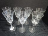 Lot - 7 Glass Wine Goblets w/ Frosted Floral Design, 2 w/ Wheat Design