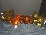 Lot - Amber Glass Pitcher 6 1/2