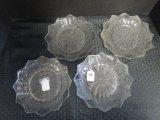 Set - 4 Beaded Glass Leaf Motif Plates w/ Flared Rim