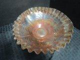 Lot - Carnival Glass Bowl, Ruffled Rim & Oblong Bowl Lattice Design