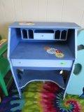 Wood Blue/Floral Pattern Child's Study Desk