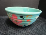 Weller Pottery Turquoise Bowl w/ Hand Painted Floral Motif