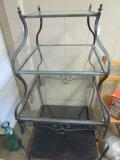 4 Tier Lattice Scroll/Serpentine Design Shelves, Glass Shelving, Blue Brushed, Scroll Feet