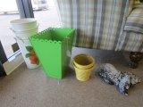 Lot - Metal Planters, Wicker Planters, Trash Can, Bunny Rabbit Door Stop