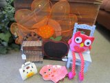 Child's Décor Lot - Chalk Board, Apple, Leggy Pink Owl Plush, Wooden Doll Chair